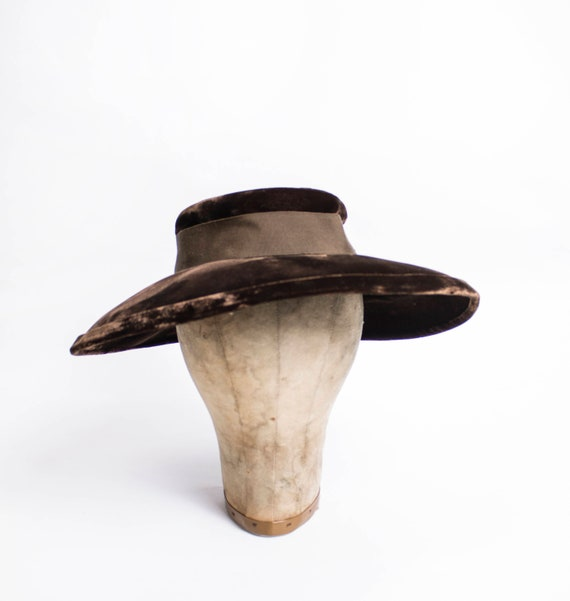 40s Hat Wide Brim Brown VELVET Oversized Sun Hat 1