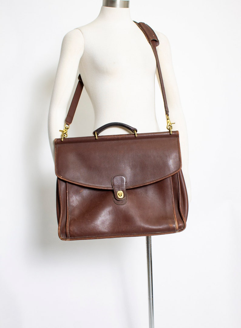 1ddd801fa9 Vintage COACH Purse Brown Leather Large Messenger Bag