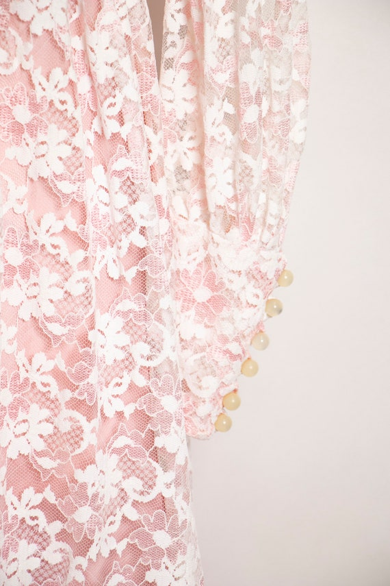 Vintage 1960s Dress Lace Pink Long Sleeve Maxi Go… - image 10