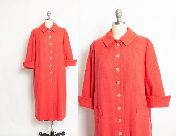 Vintage 1950s Coat Wool Grapefruit Pink Wool Swing