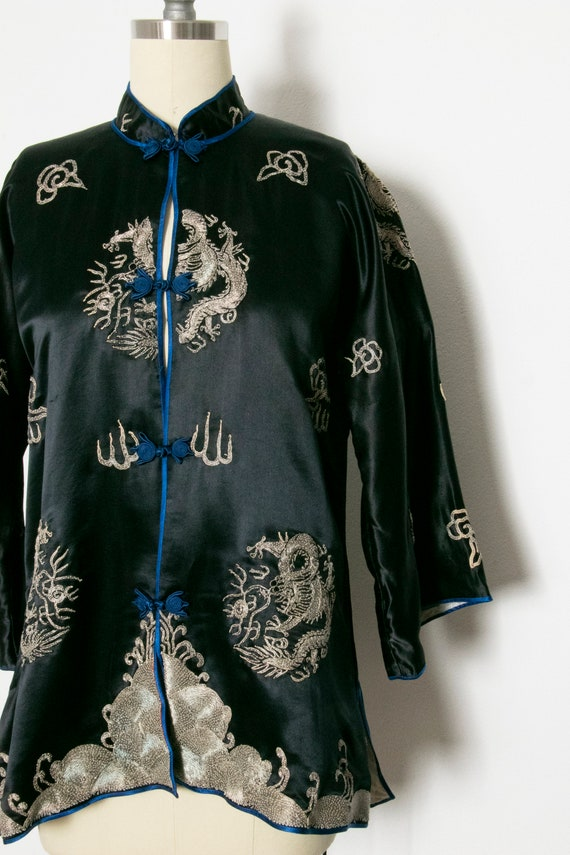 1950s Jacket Chinese Silk Embroidered Robe S - image 10
