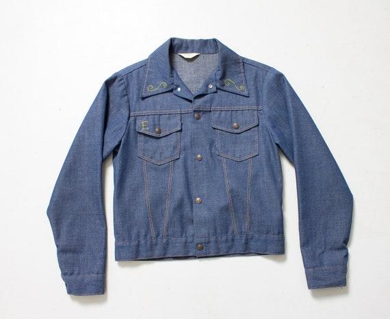 1970s Denim Jacket Embroidered Eagle Blue Lightwe… - image 4