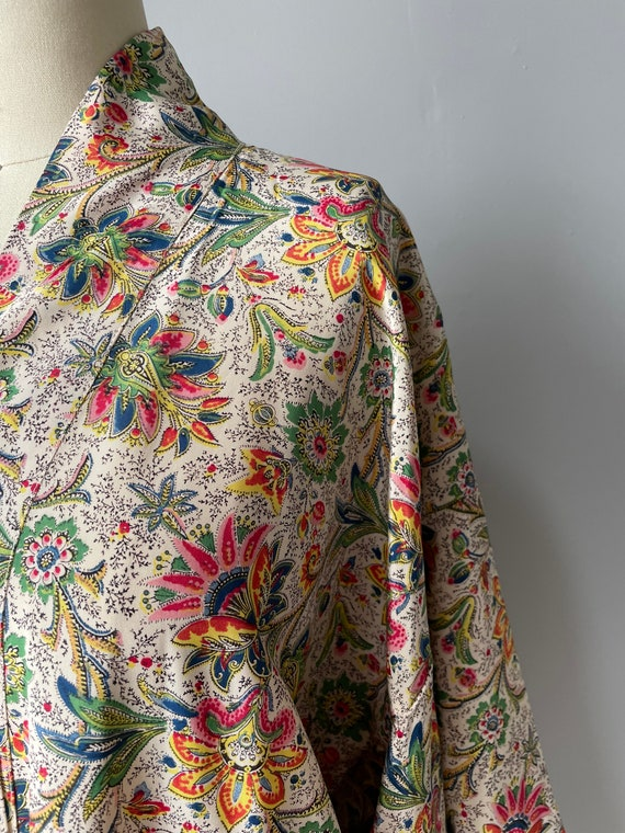 1940s Robe Rayon Paisley Loungewear S - image 5