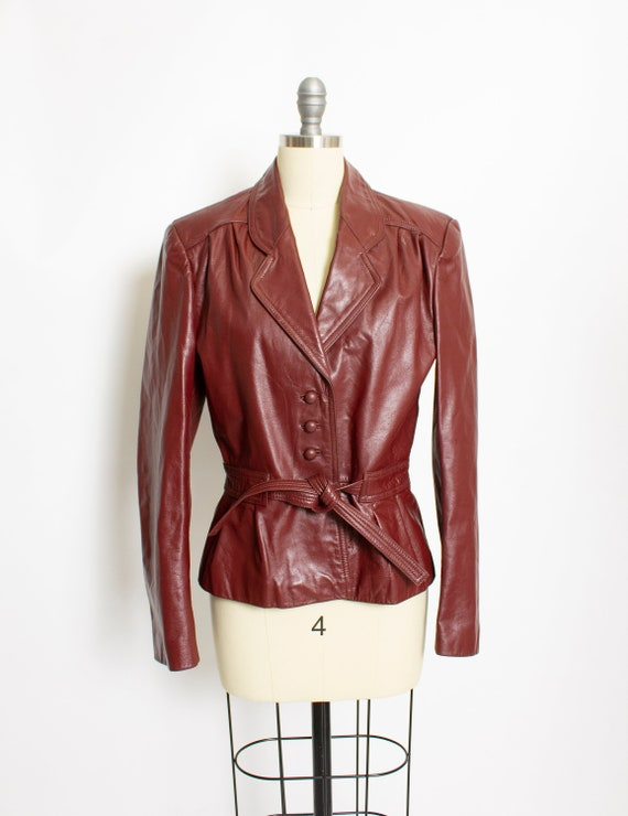 1970s Leather Jacket Rust Brown Mod Cropped Small