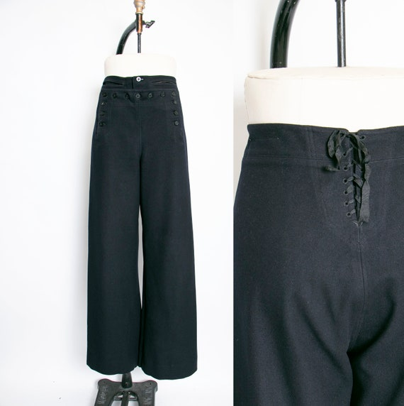 1950s Sailor Pants Wool High Waist Wide Leg Navy 3