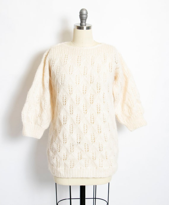 1980s Sweater Wool Mohair Chunky Knit S