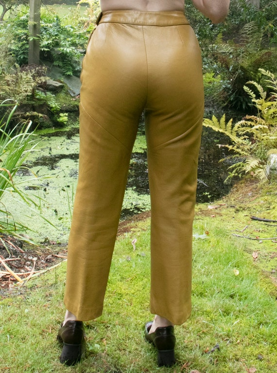 1960s BONNIE CASHIN  Leather Pants Taupe Cropped … - image 10