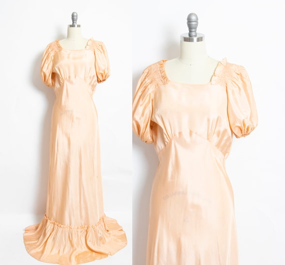 1930s Dress Peach Taffeta Full Length Gown Medium