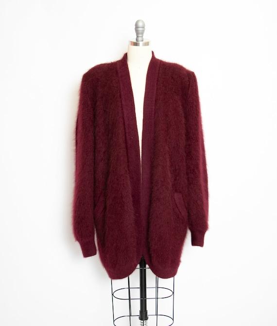 Vintage 1980s Sweater Angora Cardigan Fuzzy Oversi