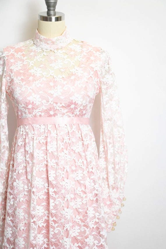 Vintage 1960s Dress Lace Pink Long Sleeve Maxi Go… - image 4