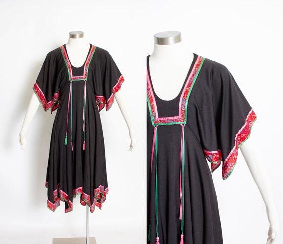 1970s Dress Black Boho Handkerchief Peasant mall