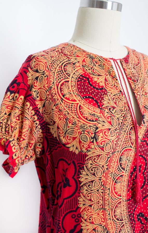 1970s Dress Ethnic Cotton Red Ethnic Boho S - image 2