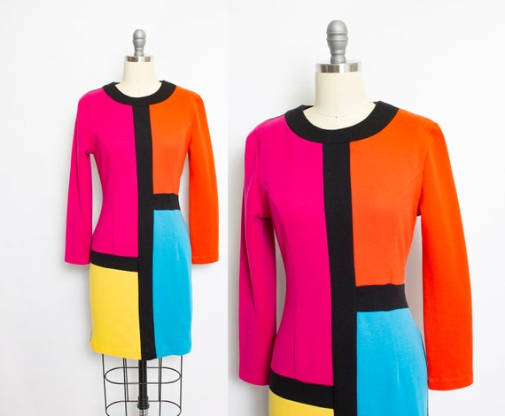 Vintage 1980s Knit Dress Color Block Neon Fitted 8