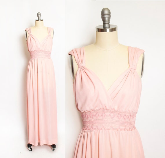 Vintage 1970s Maxi Dress Young Innocent Pink Smock