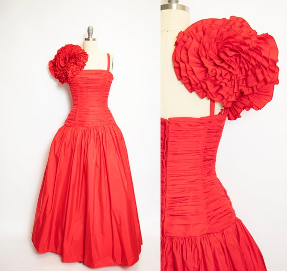 1980s VICTOR COSTA Gown Red Dress S
