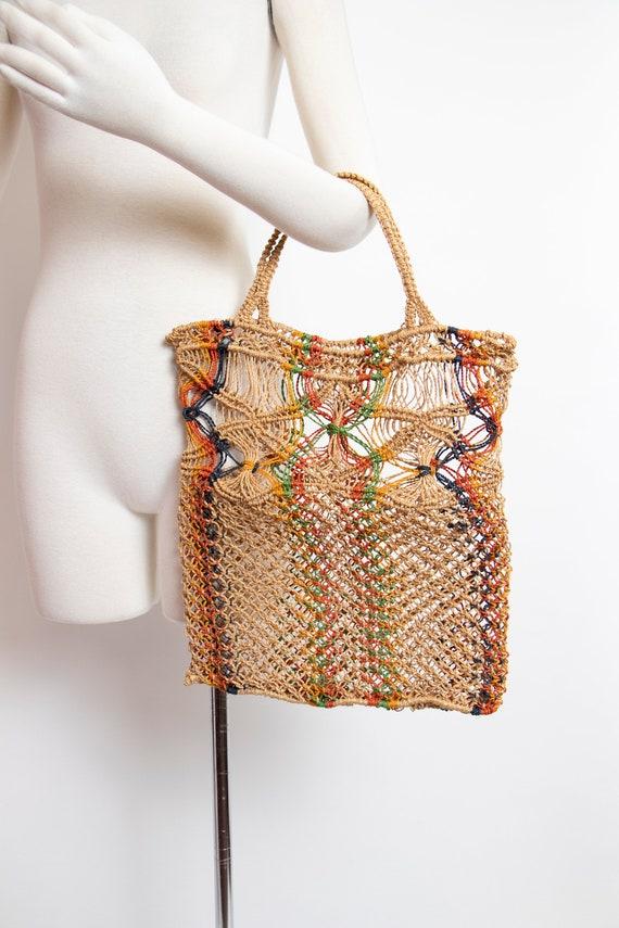1970s Tote Bag Macrame Crochet Hippie Boho Purse 7
