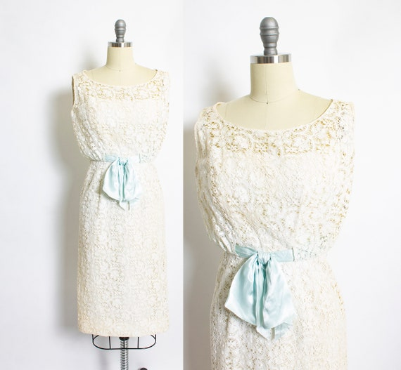Vintage 1950s FRANK STARR Dress Lace Ivory Wiggle