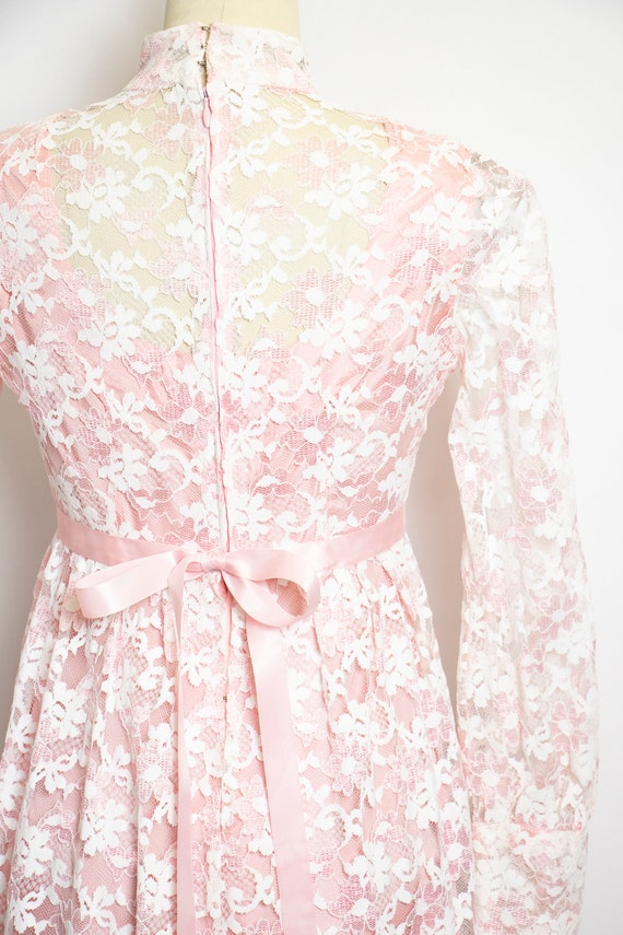 Vintage 1960s Dress Lace Pink Long Sleeve Maxi Go… - image 7