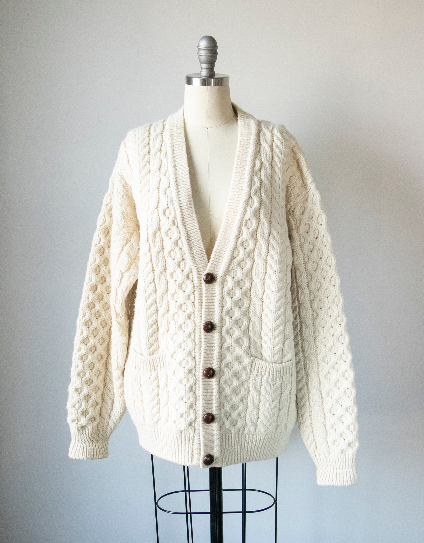 80s Sweatshirts, Sweaters, Vests | Women 1980S Irish Wool Cardigan Sweater Knit M L $146.00 AT vintagedancer.com