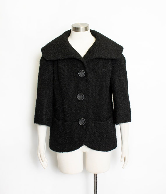 Vintage 1950s Coat Black Wool Boucle Shawl Collar