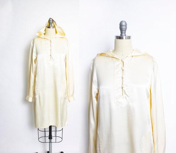 Vintage 1970s Dress HOODED Satin Boho 70s Small