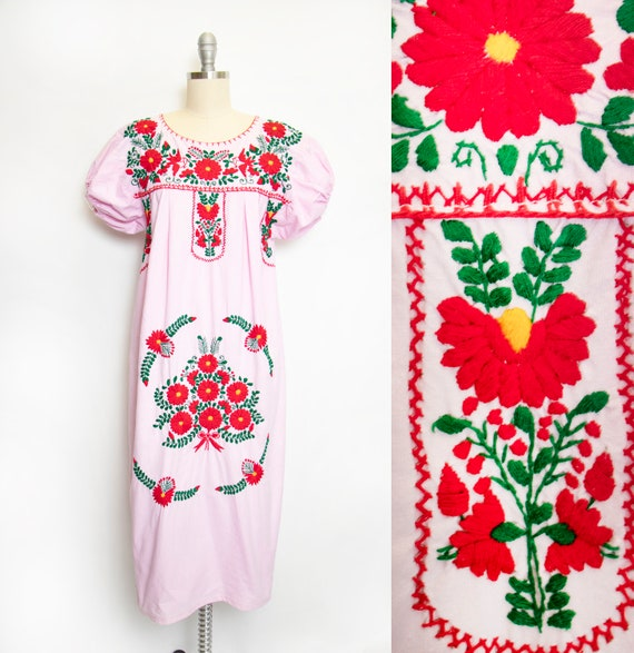 1970s Mexican Wedding Dress Embroidered Cotton S