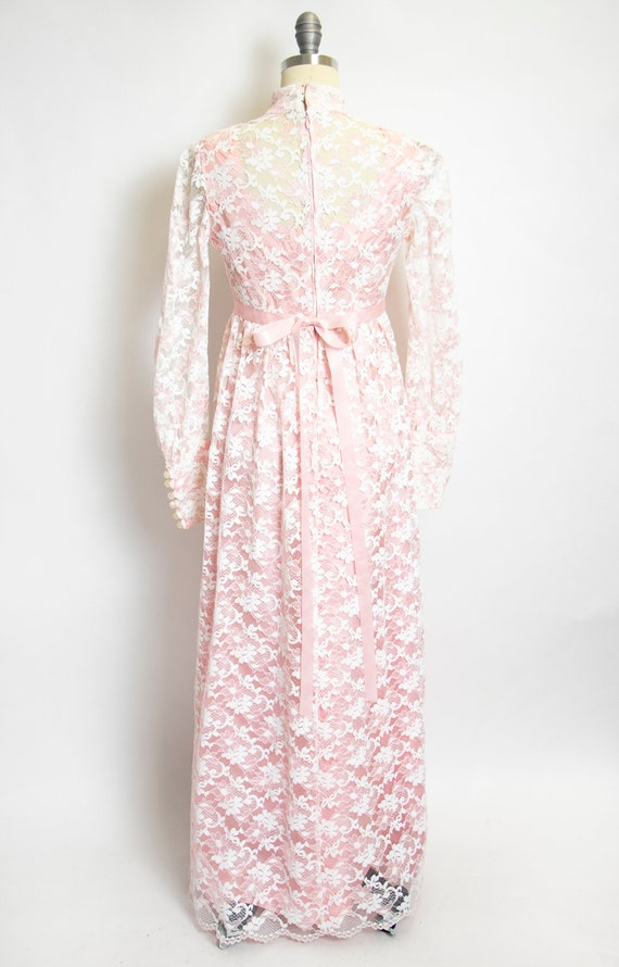 Vintage 1960s Dress Lace Pink Long Sleeve Maxi Go… - image 2