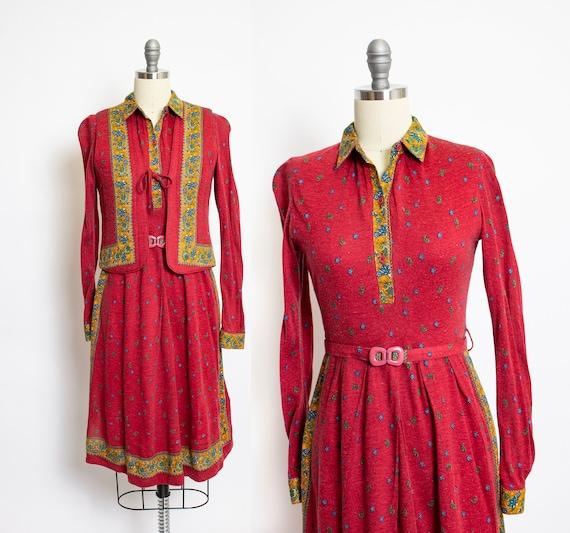 Vintage 70s Knit Dress Set Printed Cotton Knit Arm