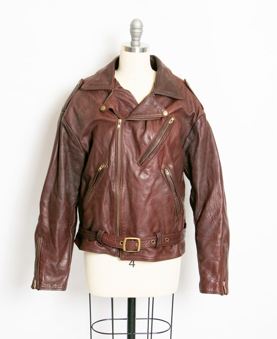 1980s Motorcycle Jacket Brown Leather M