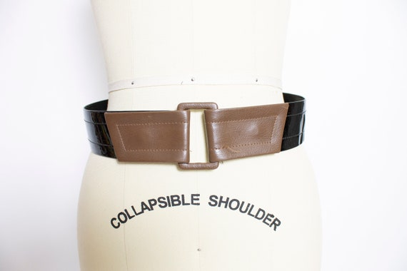 1960s Belt Patent Leather Waist Cinch Two Tone M - image 1