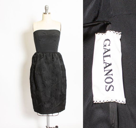 1960s GALANOS Dress Black Strapless Fitted S
