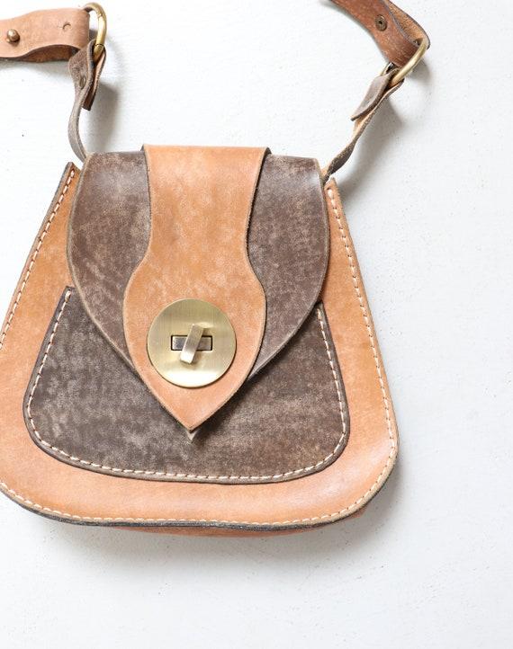 1970s Boho Purse Brown Leather Shoulder Bag - image 5