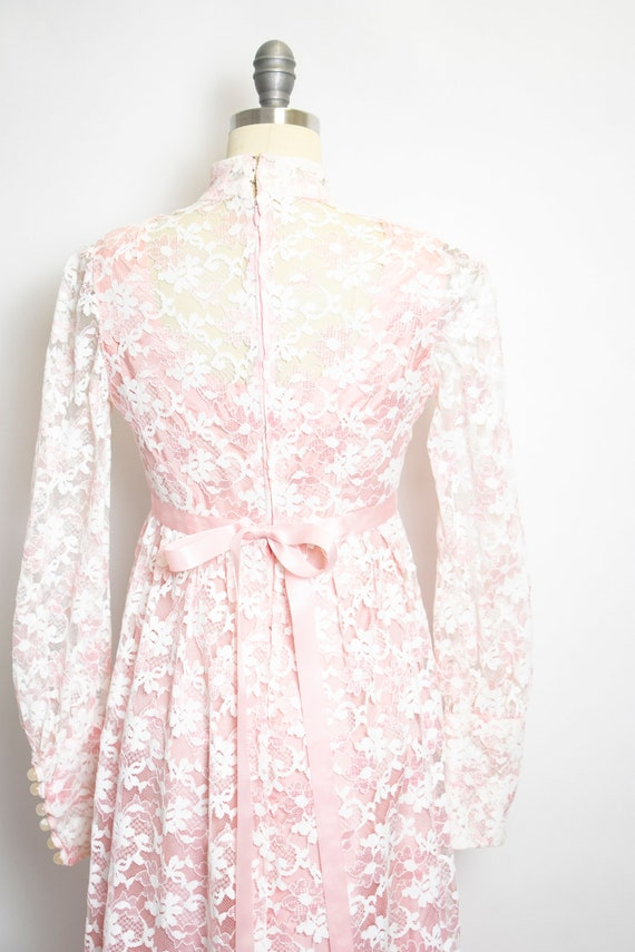 Vintage 1960s Dress Lace Pink Long Sleeve Maxi Go… - image 5
