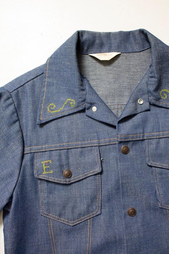 1970s Denim Jacket Embroidered Eagle Blue Lightwe… - image 6