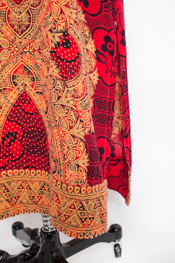 1970s Dress Ethnic Cotton Red Ethnic Boho S - image 6
