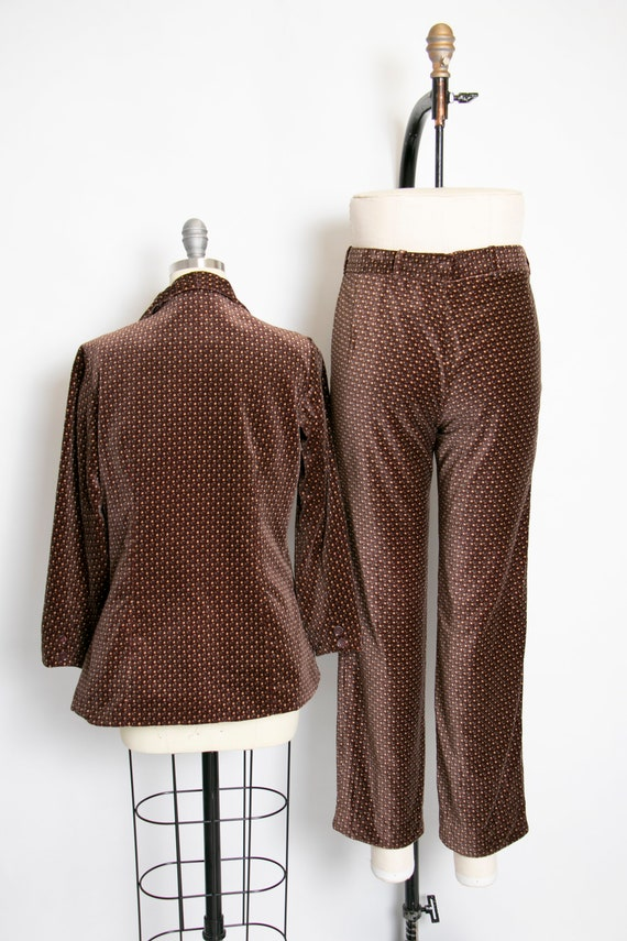 1990s Velvet Printed Suit Set Pants Blazer S/M - image 2