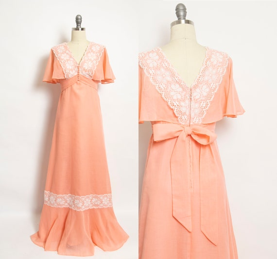 1970s Maxi Dress Peachy Cotton Lace 70s  Small