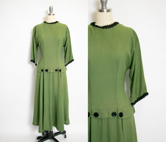1950s Dress Green Linen Full Skirt Large