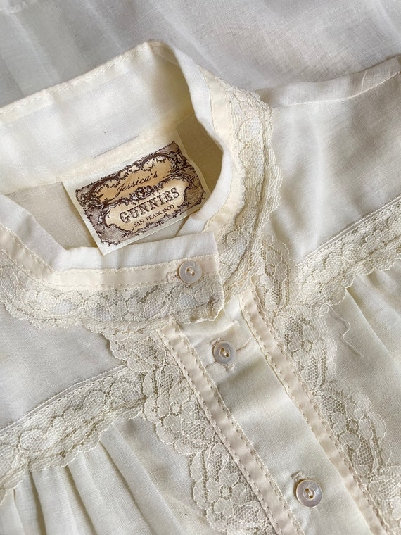 1970s Gunne Sax Blouse Cotton Lace Peasant Top S - image 8