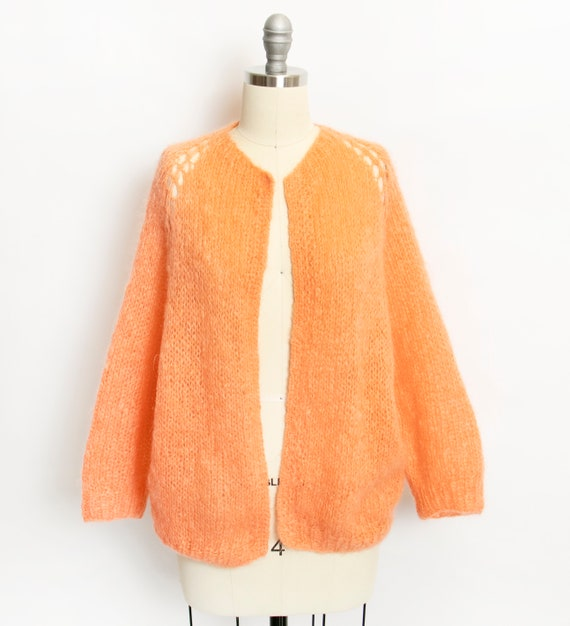 Vintage 1960s Sweater Wool Mohair Orange Sherbet C