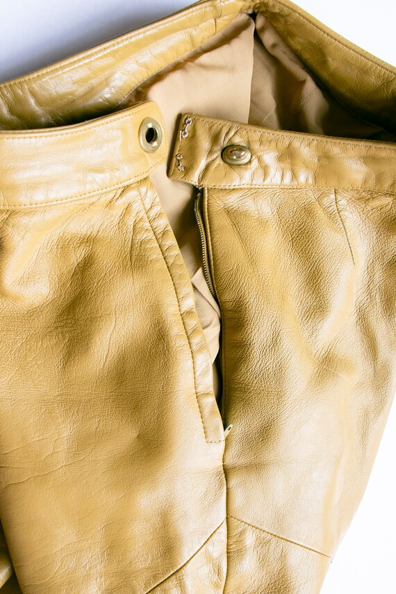 1960s BONNIE CASHIN  Leather Pants Taupe Cropped … - image 6