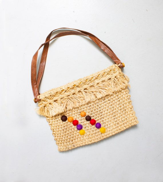 Vintage 1970s Tote Bag  Macrame Crochet Hippie Boh