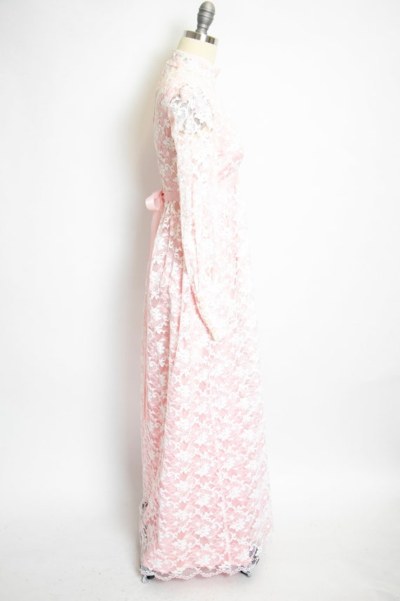 Vintage 1960s Dress Lace Pink Long Sleeve Maxi Go… - image 3