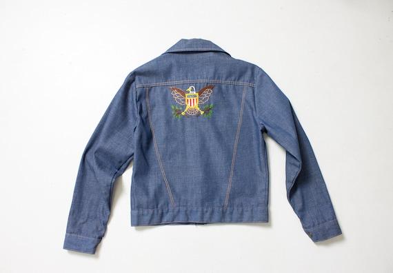 1970s Denim Jacket Embroidered Eagle Blue Lightwe… - image 5
