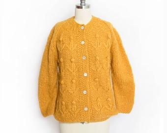Vintage 1960s Sweater - Orange Hand Knit Wool Cardigan 60s - 50s - Small / Medium