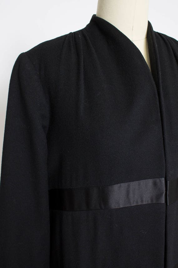 1950s Coat Satin Striped Black Wool Cashmere Small - image 6