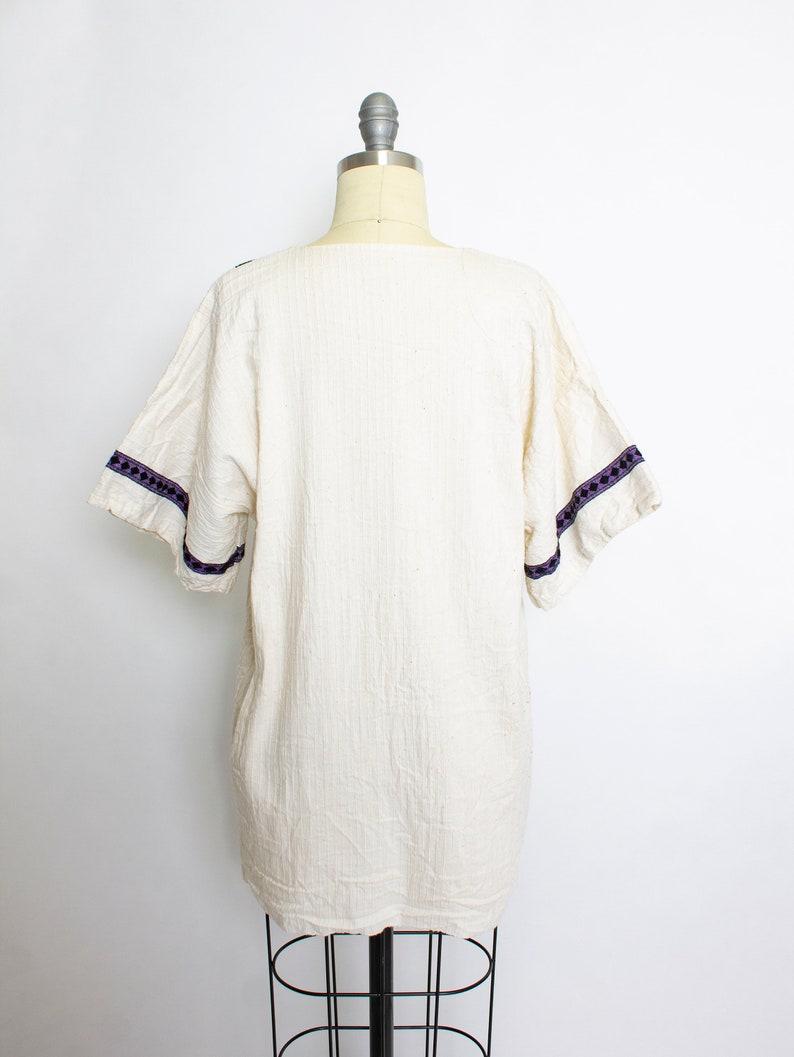 Vintage 1970s Blouse Mexican Beige Cotton Boho Tunic Large