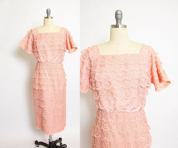 1950s Dress Pink Lace Tiered Cocktail Party Large