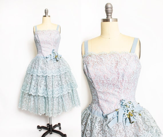 Vintage 1950s Dress Blue Lace Tiered Full Skirt Party Prom 50s Small