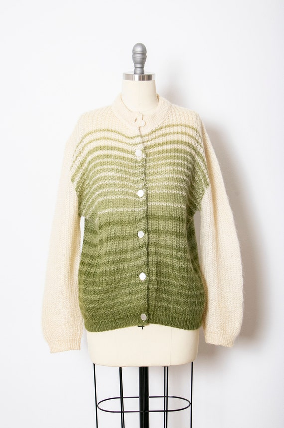 1950s Sweater Ombre Wool Mohair Cardigan S